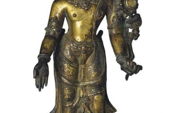 A gilt bronze figure of Avalokiteshvara Padmapani
