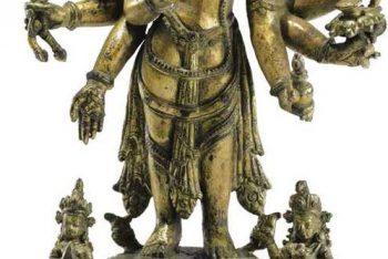 A gilt bronze figure of Amogapasha