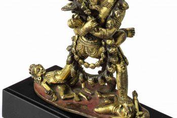 A gilt bronze figure of Chakrasamvara and Vajravarahi