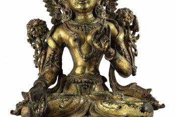 A gilt bronze figure of White Tara