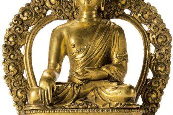 A gilt bronze figure of a Buddha Shakyamuni