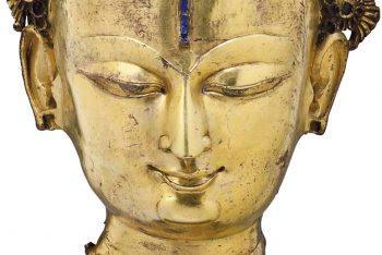 A gilt bronze head of a Bodhisattva