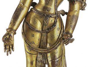 A gilt copper figure of Padmapani