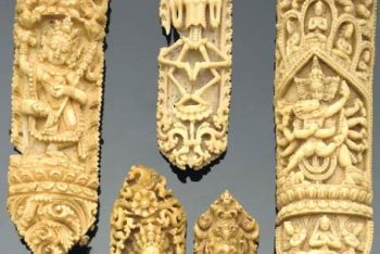 A group of bone priest's vestments