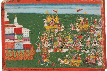 A painting from the Bhagavata Purana: Battle between Banasura and Krishna Begins