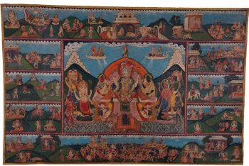 A Paubha with scenes from the Shiva Purana