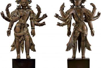 A rare gilt copper figure of Amoghapasa