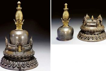 An Unusual Two Piece Bronze Stupa