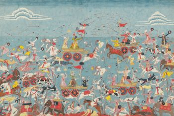 An illustration from the Bhagavata Purana: Krishna and Balarama Battling Jarasingha