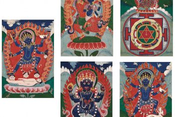 FIVE PAINTINGS DEPICTING REPRESENTATIONS OF SHIVA AND KALI