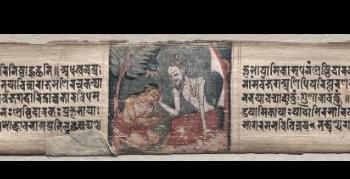 Folio 94 from a Gandavyuha-sutra (Scripture of the Supreme Array): Sudhana and the Rishi Bhishmottaranirgosha