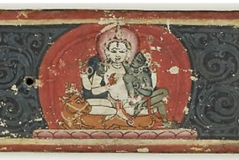 Hindu Manuscript Cover with Ganesha, Brahma, Shiva and Parvati, Vishnu, and Karttikeya