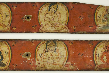 One of a Pair of Manuscript Covers of the Five Transcendent Buddhas