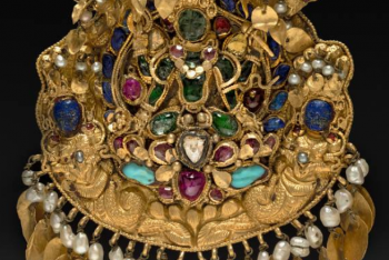 Pendant with Four-armed Green Vishnu on a lotus with Nagas