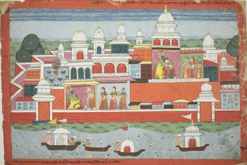 Rukmini Seeks Krishna's Permission to Visit her Brother Rukma, page from a manuscript of the Bhagavata Purana
