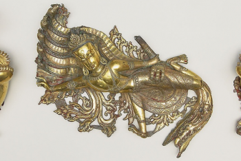 Set of Three Shrine Ornaments with Two Crocodiles (Makara) and a Serpent King (Nagaraja)