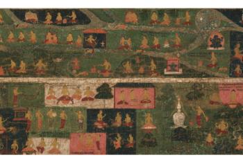 Temple Banner with Pilgrimage Sites and Scenes from the Svayambhu-Purana (Ancient Text of the Primordial Buddha)