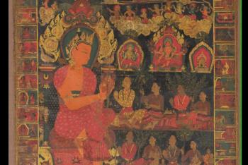 Thangka with Bejeweled Buddha Preaching