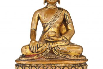 A GILT-COPPER FIGURE OF A SEATED BUDDHA
