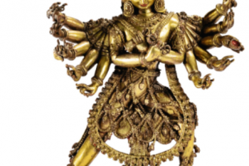 A RARE GILT-COPPER ALLOY FIGURE OF CHAKRASAMVARA, NEPAL, 16TH / 17TH CENTURY
