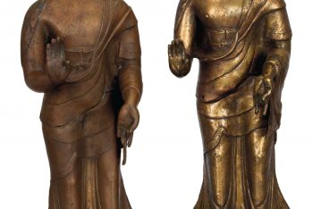 TWO NEPALESE BRONZE FIGURES OF BUDDHA