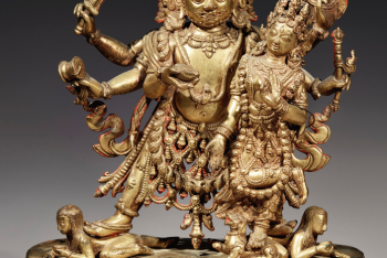 A GILT COPPER FIGURE OF BHAIRAVA AND SHAKTI