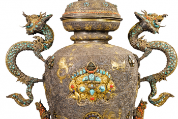 A SILVER VESSEL WITH SEMI PRECIOUS STONE INLAY, NEPAL