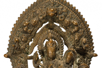 A COPPER ALLOY SHRINE DEPICTING UMA-MAHESHVARA