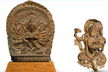 A COPPER DAKINI AND COPPER REPOUSSÉ DURGA PLAQUE NEPAL, 16TH CENTURY