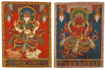 A DOUBLE-SIDED PAUBHA DEPICTING AGNI AND MAHESHVARI Nepal