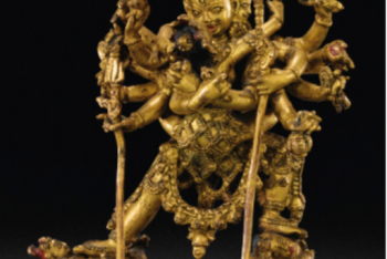A GILT-COPPER ALLOY FIGURE OF CHAKRASAMVARA, NEPAL, CA. 16TH CENTURY