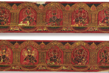 A PAIR OF WOOD AND POLYCHROME DURGA MAHISHASURAMARDINI BOOK COVERS Nepal, Circa 17th Century