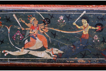 A PAIR OF WOOD AND POLYCHROME MANUSCRIPT COVERS Nepal, circa 19th Century