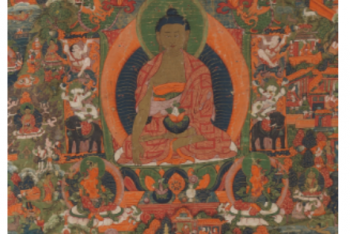 A THANGKA DEPICTING BUDDHA SHAKYAMUNI Nepal, circa 18th Century