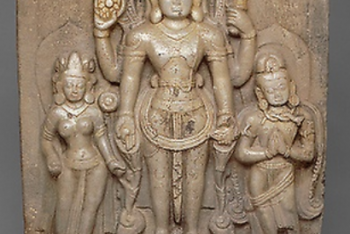 God Vishnu with Goddess Lakshmi and His Mount, Garuda, in Attendance