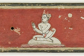 Hindu Manuscript Cover with Two Disciples and a Naga King and Queen Seated Before a Sage