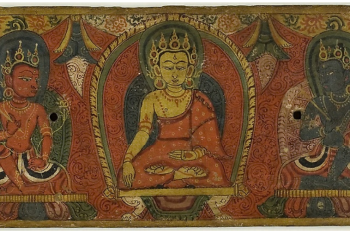 Manuscript Cover with Buddha, Two Bodhisattvas and Two Protective Deities (Lokapalas)