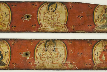 One of a Pair of Manuscript Covers of the Five Transcendant Buddhas