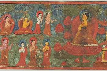 One of a Pair of Manuscript Covers with Buddha Overcoming Temptation Surrounded by Disciples