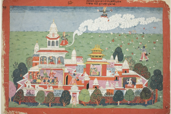 Pradyumna Enters the Palace of the Demon Sambar and Challenges him to Battle, page from a manuscript of the Bhagavata Purana