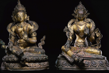 TWO GILT-COPPER REPOUSSÉ FIGURES OF TARA Nepal, 16th/17th Century