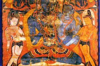 "Thangka ""The Adibuddha Vajrasattva (Dorje Semsdpa ') and his consort"""