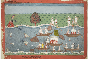 The Demon Sambar Throws the Infant Pradyumna into the River, page from a manuscript of the Bhagavata Purana