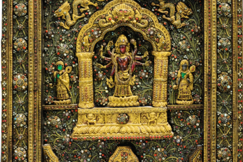 Votive plaque in gilded copper inlaid Nepal
