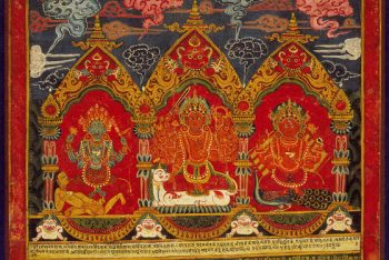 Three Mother Goddesses (Matrikas): Mahalakshmi Flanked by Chamunda (left) and Kaumari (right)
