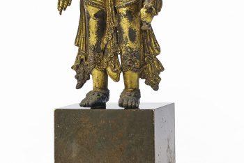 RARE STATUE OF AMOGHAPASHALOKESHVARA IN GOLDEN BRONZE