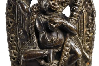 STATUE OF SIMHAVAKTRA IN BLACK STONE