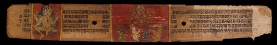 Two Goddesses (recto), text (verso), Folio from a Pancharaksha (The Five Protective Charms)