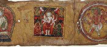 Enthroned white figure in Abhaya gesture (left), Enthroned white multi-armed figure (middle), Red-figure with the upraised leg in circle/serpent (right), Folio from a Pancharaksha (The Five Protective Charms)