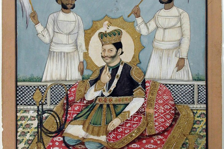 A king of Nepal seated on a terrace with a hookah, with two chauri bearers